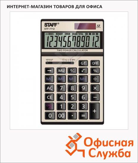 фото: Калькулятор настольный Staff STF-7712-Gold металл 12 разрядов