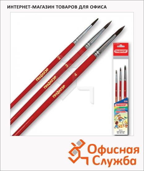 Набор кистей для рисования Пифагор Школьник №2-4, пони, круглые, 3шт