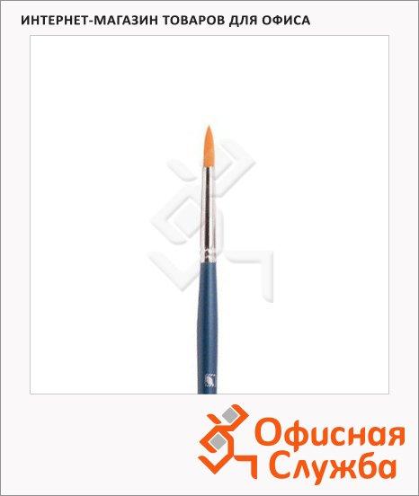 Кисть для рисования Байкал №7, синтетика, круглая, длинная ручка