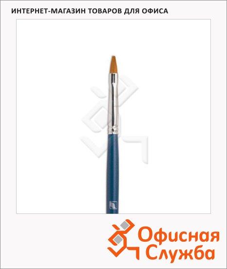 Кисть для рисования из синтетики Байкал №4, плоская, длинная ручка