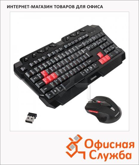 Набор клавиатура и мышь беспроводной Sonnen KB-G5000, черный/красный