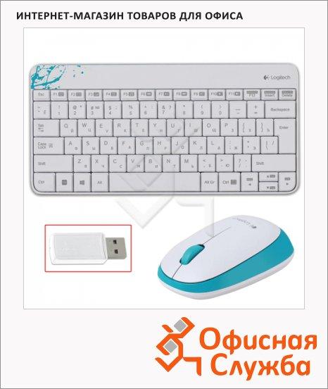 фото: Набор клавиатура и мышь беспроводной MK240 белый-голубой