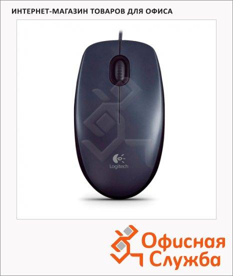 Мышь проводная оптическая USB Logitech M100, 1000dpi, черная