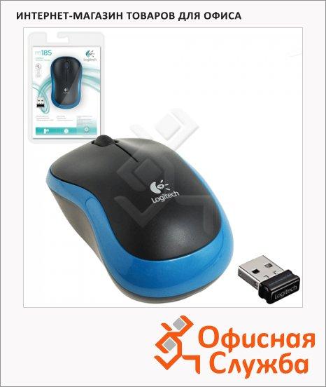 фото: Мышь беспроводная оптическая USB Wireless Mouse M185 1000dpi, 1000dpi, черно-синяя