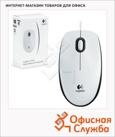 Мышь проводная оптическая USB Logitech B100, 800dpi, белая