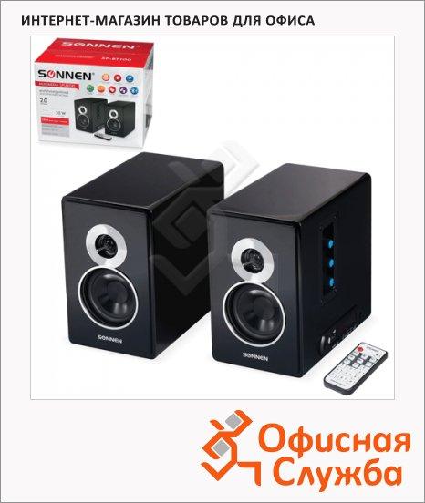Колонки компьютерные Sonnen SP-BT100, 2х15Вт, черные, 2.0, USB, SD