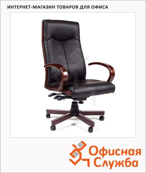 Кресло руководителя Chairman 411 иск. кожа, крестовина дерево, черная