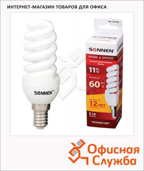 Лампа энергосберегающая Sonnen Т2 11(60)Вт, E14, теплый свет, 12000ч