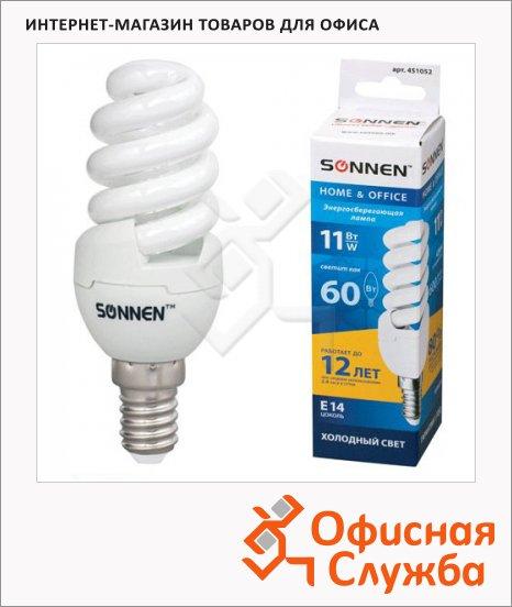 фото: Лампа энергосберегающая Sonnen Т2 11(60)Вт E14, холодный свет, 12000ч