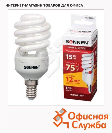 Лампа энергосберегающая Sonnen Т2 15(75)Вт, E14, теплый свет, 12000ч