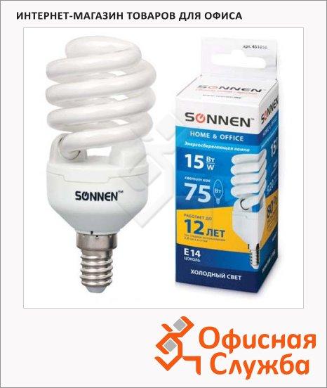 Лампа энергосберегающая Sonnen Т2 15(75)Вт, E14, холодный свет, 12000ч