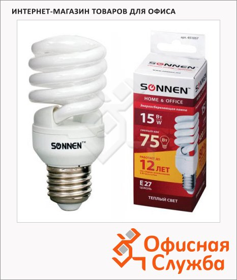 Лампа энергосберегающая Sonnen Т2 15(75)Вт, E27, теплый свет, 12000ч