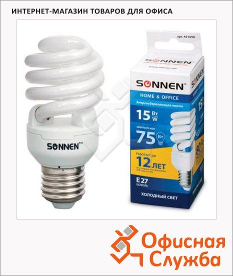 Лампа энергосберегающая Sonnen Т2 15(75)Вт, E27, холодный свет, 12000ч