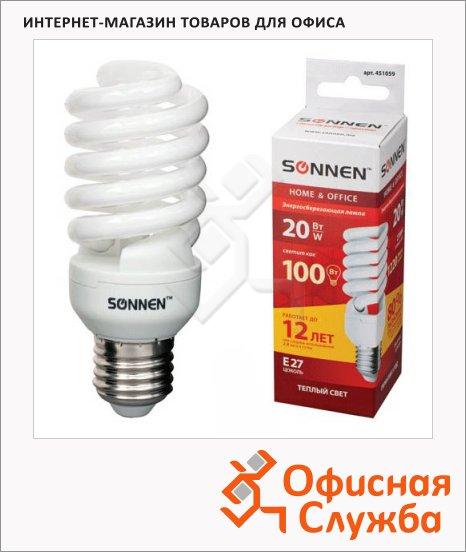 Лампа энергосберегающая Sonnen Т2 20(100)Вт, E27, теплый свет, 12000ч