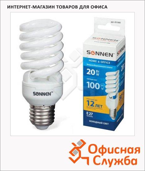 Лампа энергосберегающая Sonnen Т2 20(100)Вт, E27, холодный свет, 12000ч