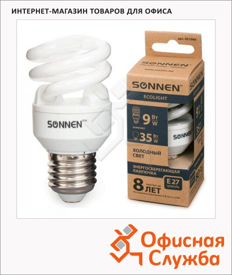 Лампа энергосберегающая Sonnen ECO Т2 9(35)Вт, E27, холодный свет, 8000ч
