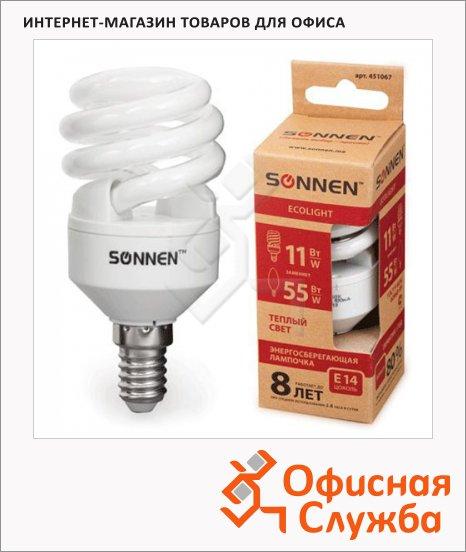 Лампа энергосберегающая Sonnen ECO Т2 11(55)Вт, E14, теплый свет, 8000ч