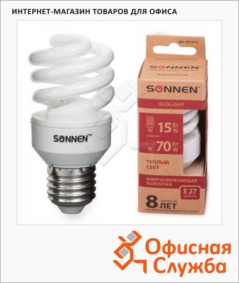 фото: Лампа энергосберегающая ECO Т2 15(70)Вт E27, теплый свет, 8000ч