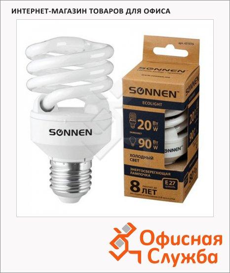 Лампа энергосберегающая Sonnen ECO Т2 20(90)Вт, E27, холодный свет, 8000ч