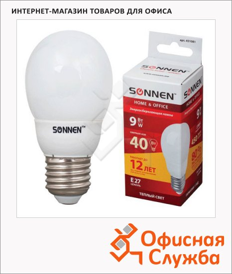 Лампа энергосберегающая Sonnen Т2 9(40)Вт, E27, теплый свет, 12000ч, шар