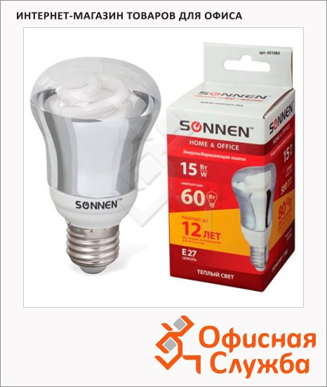 Лампа энергосберегающая Sonnen Т2 15(60)Вт, E27, теплый свет, 12000ч
