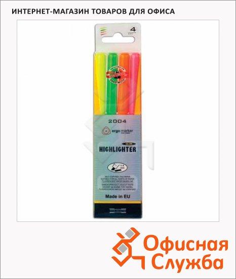 Текстовыделитель Koh-I-Noor Ergo набор 4 цвета, 1-4мм, скошенный наконечник