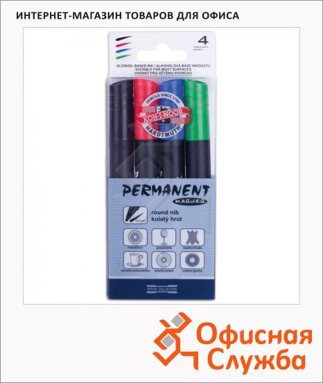Маркер перманентный Koh-I-Noor 4005 набор 4 цвета, 2.5мм, круглый наконечник