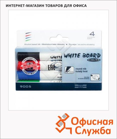 Маркер для досок Koh-I-Noor 9005 набор 4 цвета, 2.5мм, круглый наконечник