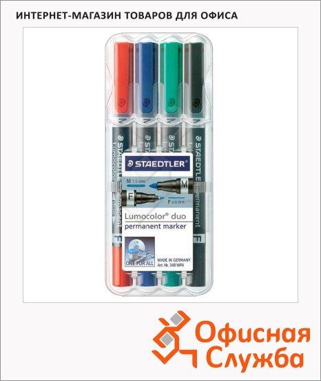 фото: Маркер перманентный Staedtler Lumocolor Duo набор 4 цвета 0.6-1.5мм, круглый наконечник, двухсторонний