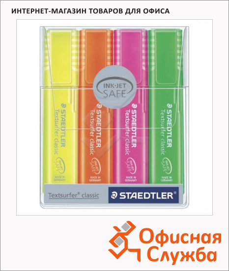 Текстовыделитель Staedtler Textsurfer Classic набор 4 цвета, 1-5мм, скошенный наконечник, 364 P WP4