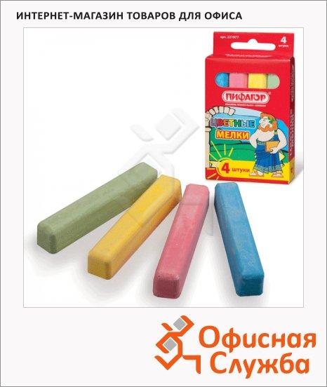 Набор мелков Пифагор 4 цвета, грани закруглены