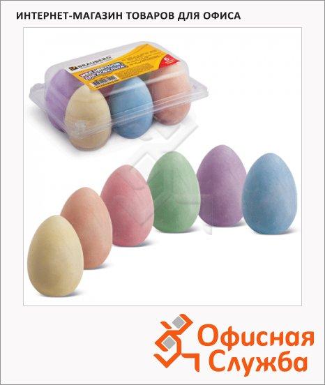 фото: Набор мелков для асфальта Brauberg 6 цветов в форме яиц