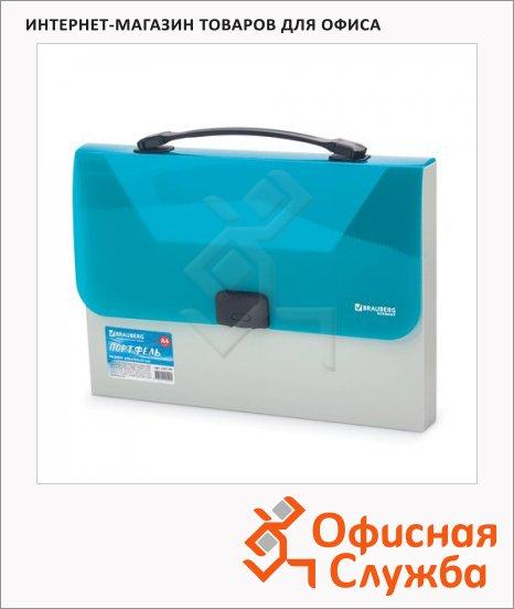 фото: Портфель пластиковый Brauberg Income бежево-бирюзовая A4