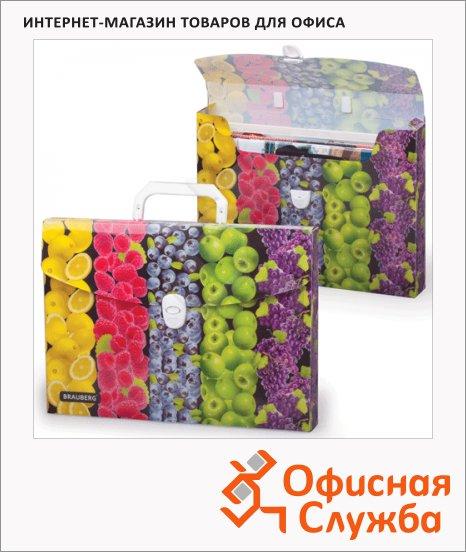 Папка-портфель Brauberg 33.6х24.6х4см, принт фрукты