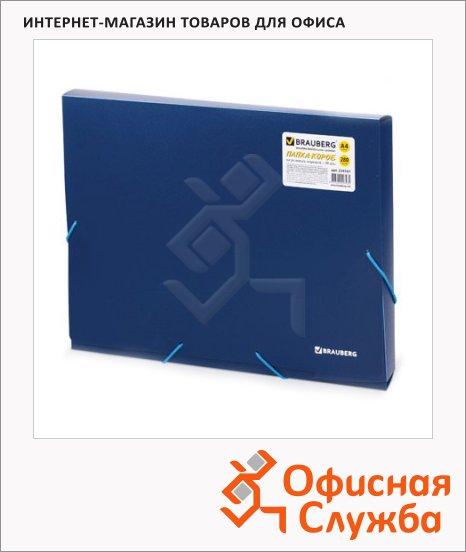 Пластиковая папка на резинке Brauberg Income синяя, A4, до 500 листов