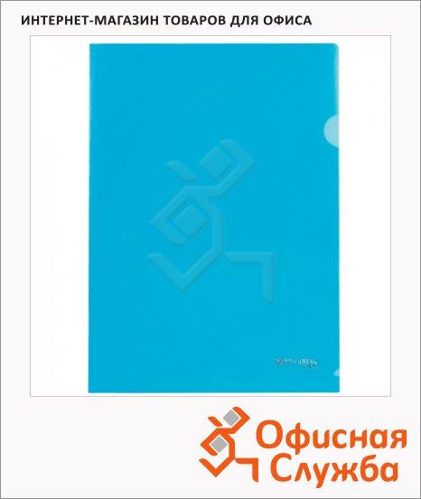 фото: Папка-уголок Brauberg синяя A4, 100мкм