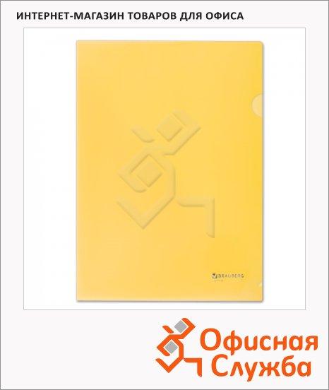 Папка-уголок Brauberg желтая, A4, 150мкм