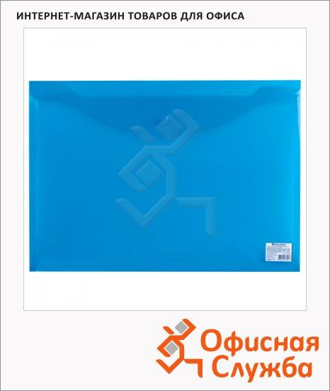 фото: Папка-конверт на кнопке Brauberg синяя А3, 224034