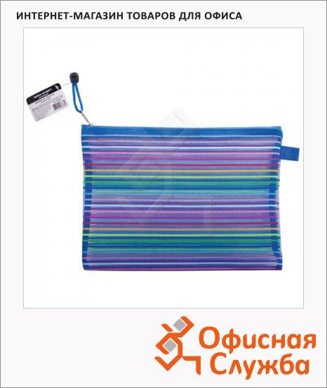 фото: Пластиковая папка на молнии Brauberg Stripes разноцветная-полупрозрачная 220х310мм