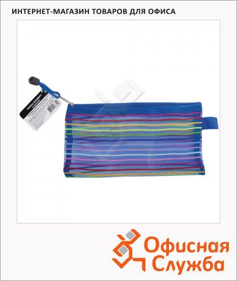 фото: Пластиковая папка на молнии Brauberg Stripes разноцветная-полупрозрачная 130х255мм