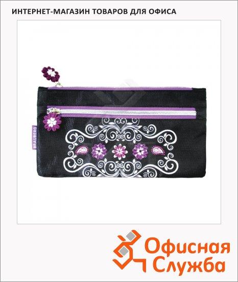 фото: Пенал-косметичка для девочек Ornament 22х11см черный/фиолетовый