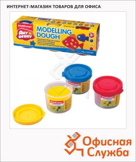 Пластичная масса для моделирования и лепки Erich Krause Artberry Modelling dough 3 цвета по 35г, 32708