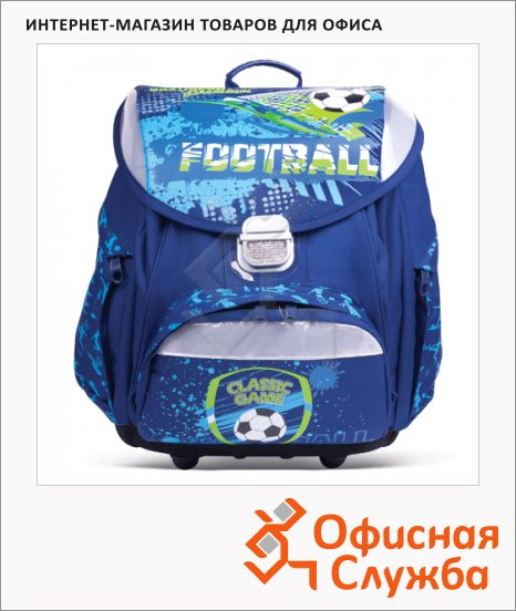 фото: Ранец для мальчиков Brauberg Football Game сине-салатовый, пластиковые ножки