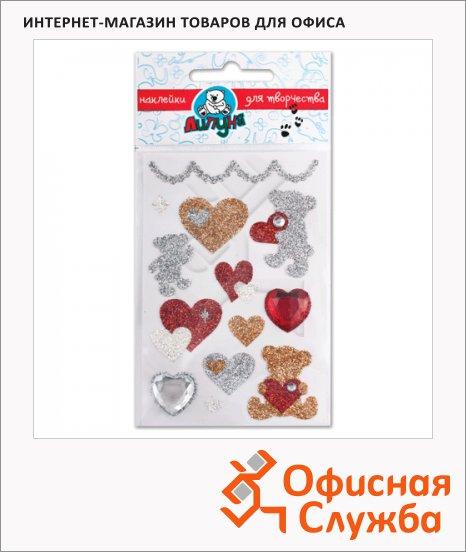 Наклейки декоративные детские Липуня Блестящие мишки с сердцами
