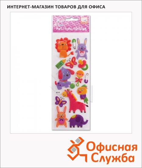 Наклейки декоративные детские Action Забавные животные-2, 8.5х22см, объемные