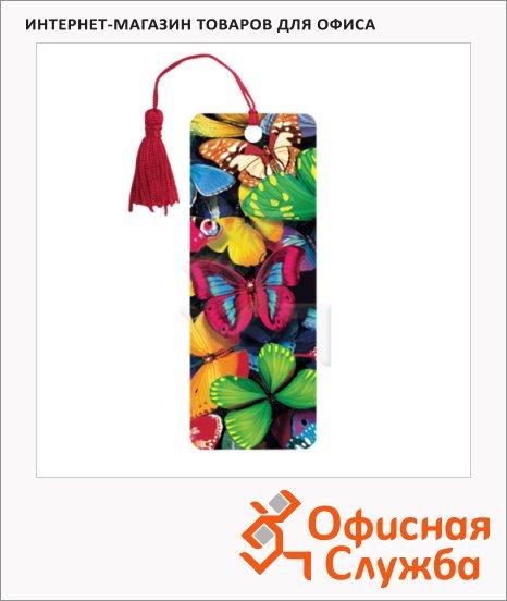 Закладка для книг Brauberg Бабочки, объемная с движением, шнурок-завязка