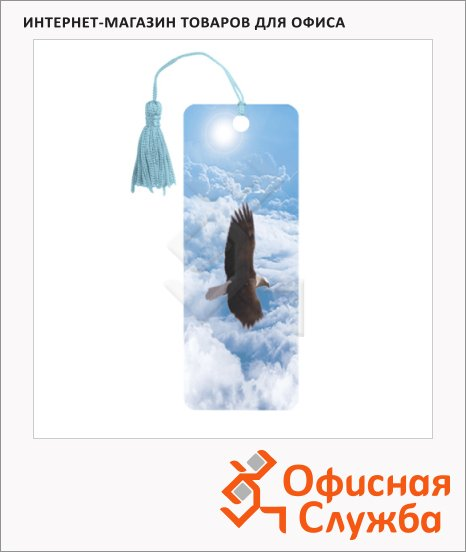 фото: Закладка для книг Brauberg Орел объемная с движением, шнурок-завязка