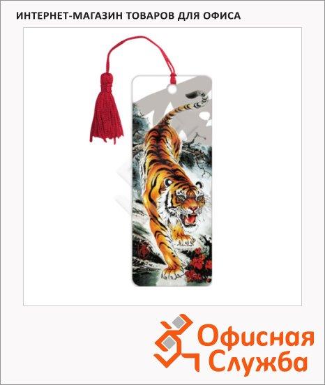 фото: Закладка для книг Brauberg Бенгальский тигр объемная с движением, шнурок-завязка