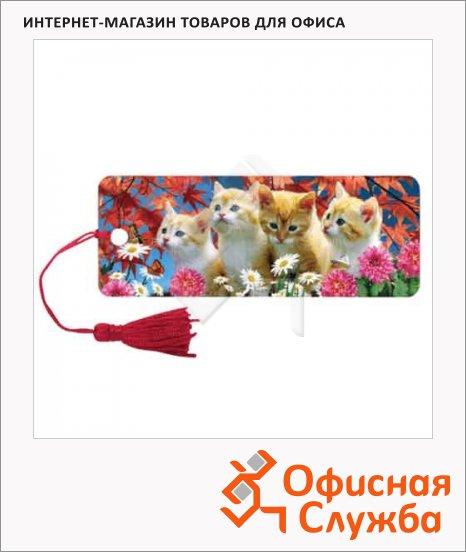 фото: Закладка для книг Brauberg Котята объемная с движением, шнурок-завязка