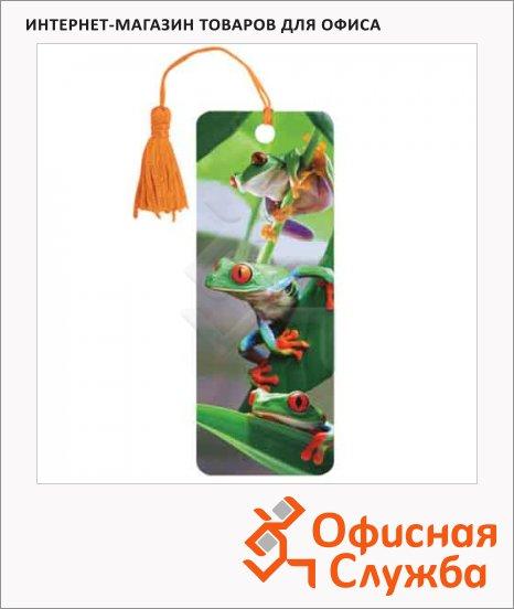 Закладка для книг Brauberg Лягушата, объемная с движением, шнурок-завязка